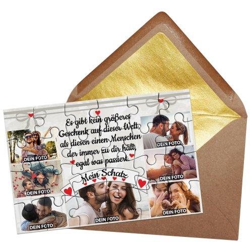 Foto-Puzzle / 24 Teile / Collage Mein Schatz / inkl. Verpackung Kraftpapier Umschlag mit Gold-Inlay / mit SIEBEN Bildern bedrucken lassen
