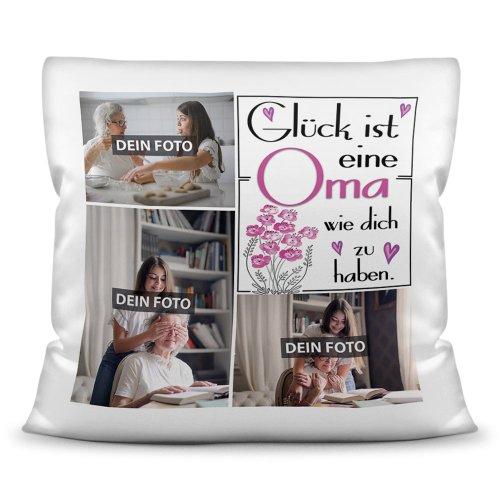 Kissen inkl. Füllung Familie SG Fotocollage - Für Oma - mit Spruch und drei eigenen Fotos
